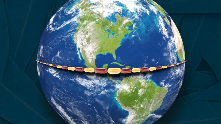 Bonbons umspannen die Erde